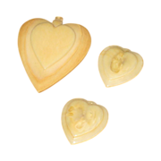 SALE 3 Vintage Ivory Celluloid Heart charms, Pendant Beautiful!