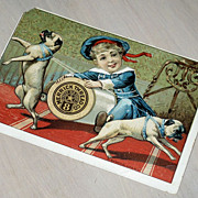 SALE Merrick Thread Co.  Store Trade Card  Iowa,  Pug Dogs