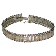 REDUCED Vintage Milor of Italy Wide Mirrored Flexible Sterling Silver Bracelet