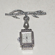REDUCED Vintage Ladies 800 Silver  Bucherer 17 jewel Swiss Lapel Pin Watch Marcasites