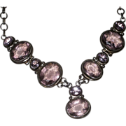 Stunning Vintage Sterling Silver and Genuine Amethyst Stone Necklace