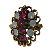 Vintage Uncus Fashion Ring Faux Ruby & Opal Stones 1960's