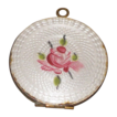 Vintage Guilloche Enamel Photo Locket White with Pink Rose