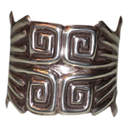 Vintage Sterling Silver Greek Key Design Wide Cuff Bracelet Mexico
