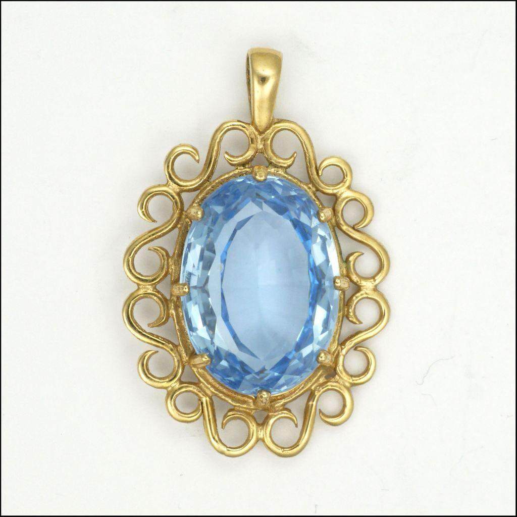 blue spinel gemstone 9k gold pendant