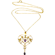 English Art Nouveau 9 Carat Gold Amethyst and Seed Pearl Necklace