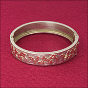English Victorian Style Silver Gold Ivy Birds Bangle -  1923