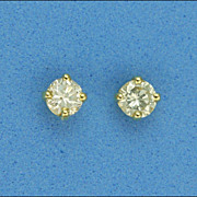 18 Carat Gold Diamond Stud Earrings - Pierced Ears