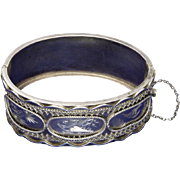 Victorian Large Aesthetic Period Silver Engraved Birds Bangle