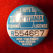 PA. Fishing License Button - 1975