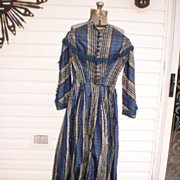 SOLD Silk Plaid Civil War Period Dress
