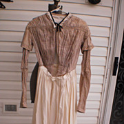 Vintage Ca.1840's Brown Checked Top w/Skirt