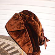 SALE PENDING Civil War Period Brown Velvet Bonnet
