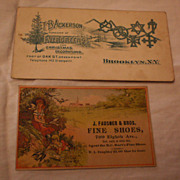 Two New York Trade Cards - Shoes & Evergreens