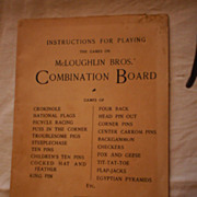 McLoughlin Bros. Combination Board Game Booklet of Instruction