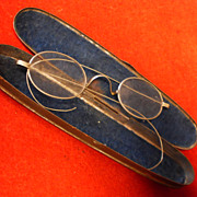 Early Silver Spectacles - Civil War Period - Tin Case