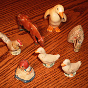 Group of ( 6) Small Cast Iron & Metal Figures -  Ducks, Rooster, Girl, etc.