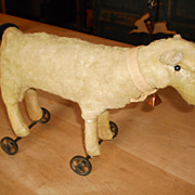REDUCED Vintage Sheep on Wheels - Great Condition