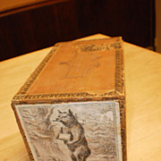 Vintage Wooden Cigar Box featuring Bear Smoking Cigar