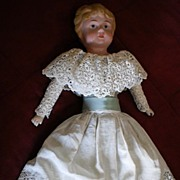 """Minerva"" Tin Head Doll - Original Clothes & Condition"