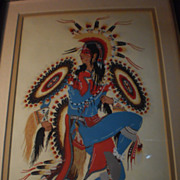 Native American Silk Screen &quot;Hummingbird Dancer&quot; by Crumbo