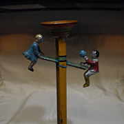 Tin German See-Saw Toy with Boy and Girl