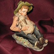 Capodimonte Young Boy with Lamb Figurine - Signed & Numbered