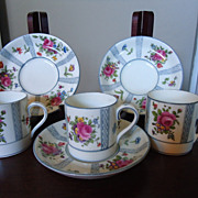 RARE Crown Staffordshire Demitasse Cups and Saucers
