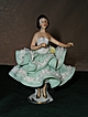 Dresden Porcelain Lace Dancing Lady Figurine in Green