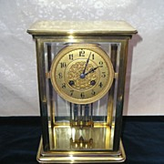 JAPY FRERES French Mercury Pendulum Brass & Glass Clock ca. 1900's