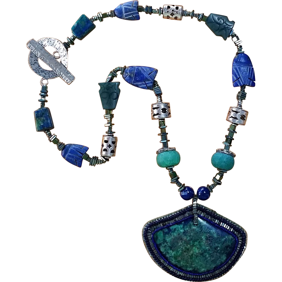 One Of A Kind Azurite Amp Malachite Necklace With Hand
