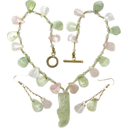 Free Shipping! Necklace Rose Quartz & New Jade w/ Carved Shoe Pendant