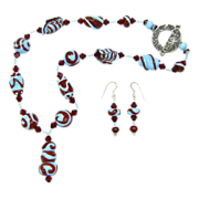 Free Shipping! Robin's Egg Blue & Red Swirl Necklace w/Lampworked Beads