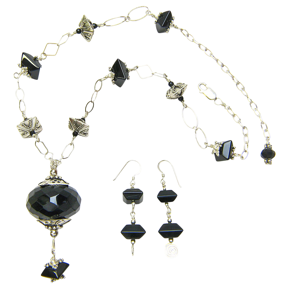 Free Shipping! Sparkling Sterling & Onyx Necklace w/ Huge, Faceted Onyx Pendant