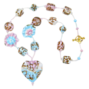 SALE 20% Off/Free Shipping!  Sky Blue & Pink Aventurine Necklace w/ Our Own Lampworked Glass B