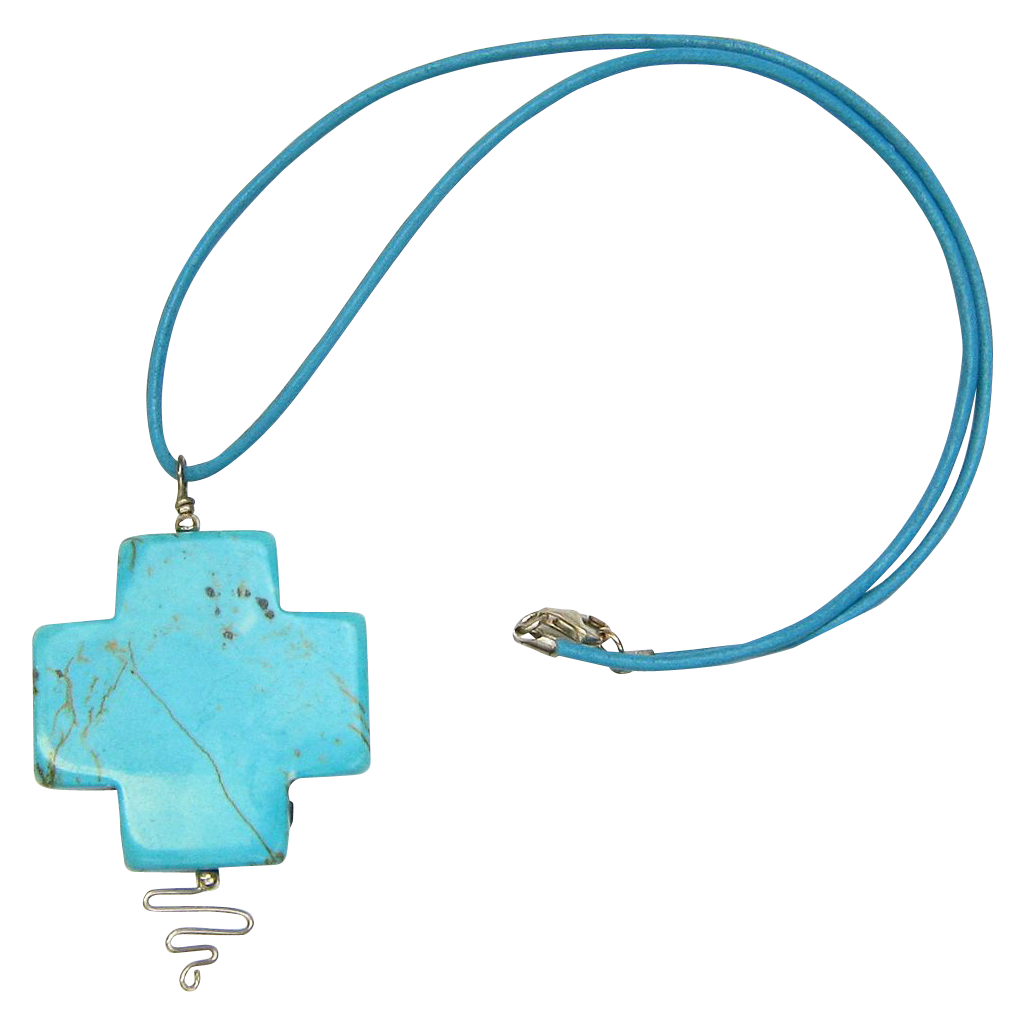 Free Shipping!  Leather Necklace with Stabilized Turquoise Cross Pendant