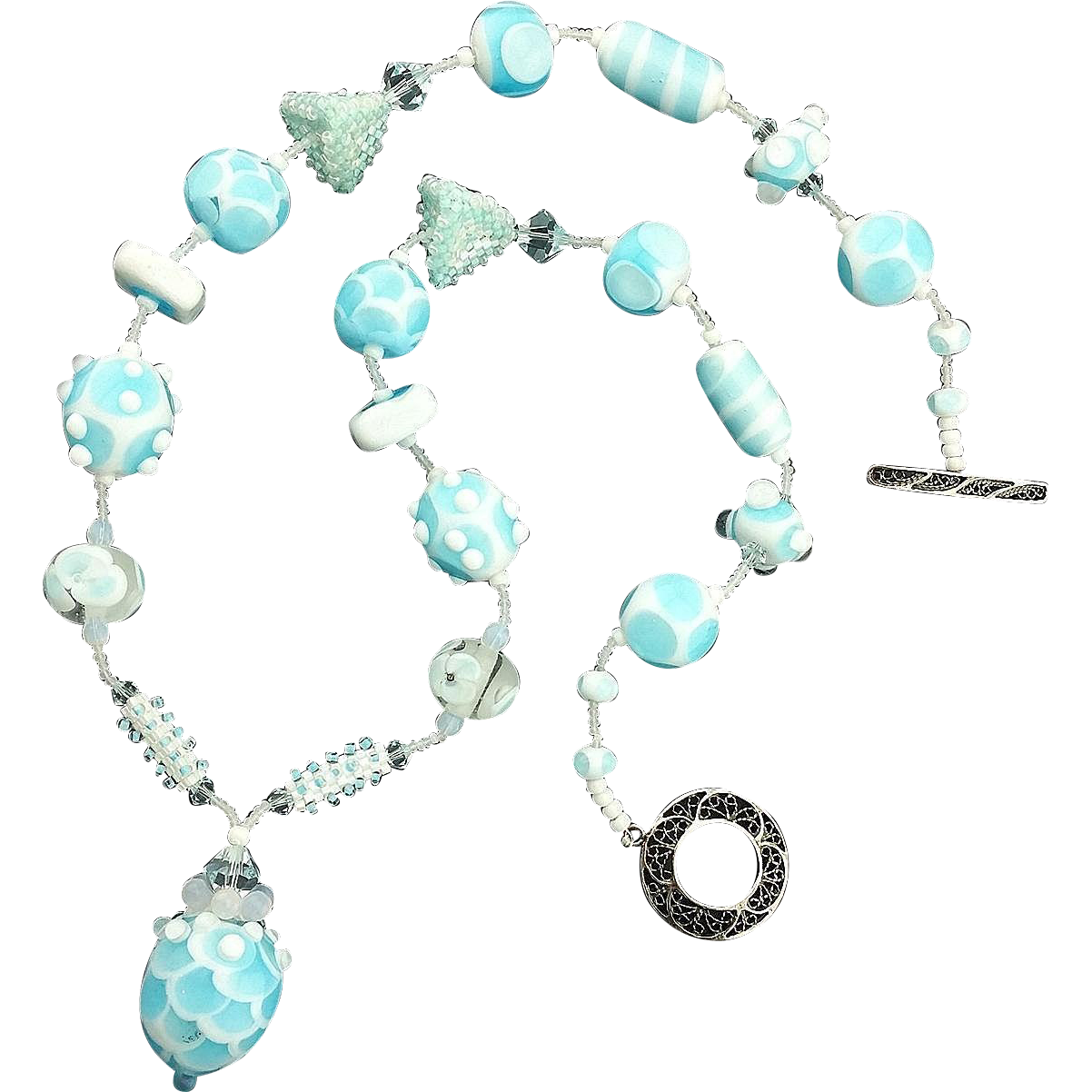 Free Shipping!  Dreamy Sky Blue Opalescent Necklace