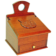 Free Shipping!  Artisan Crafted Leopardwood Carved Owl Salt Box, Wall Box, w/Drawer
