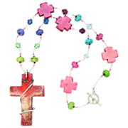 Free Shipping!  Large Wire-Wrapped Cross on One-of-a-Kind Rainbow Necklace