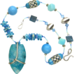Free Shipping!  Gorgeous Multi-Stone Necklace in Colors of Marine Life
