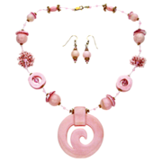 Free Shipping!  Gossamer Pink Necklace w/ Hand-Carved Pink Opal Pendant
