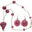 Free Shipping!   Heart Necklace Set w/ Handmade Lampworked Beads