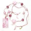Free Shipping!  �Beribboned in Pinks� Necklace with Our Own Lampwork and Fused Glass