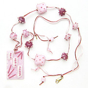 Free Shipping!  Beribboned in Pinks Necklace with Our Own Lampwork and Fused Glass