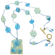 Free Shipping!  Shades of Turquoise & Cream Necklace w/ Handmade Lampworked Beads