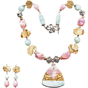 Free Shipping!  Extravagant Pink Opal, Picture Jasper & Amazonite Necklace w/ Earrings