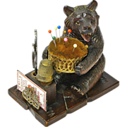 SALE 20% Off/Free Shipping!! Black Forest Hand Carved Bear Souvenir Pin Cushion / Sewing Caddy