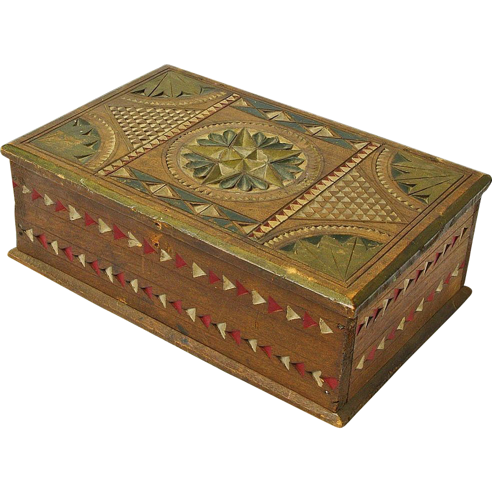 Chip carved painted mahogany desk box ca from