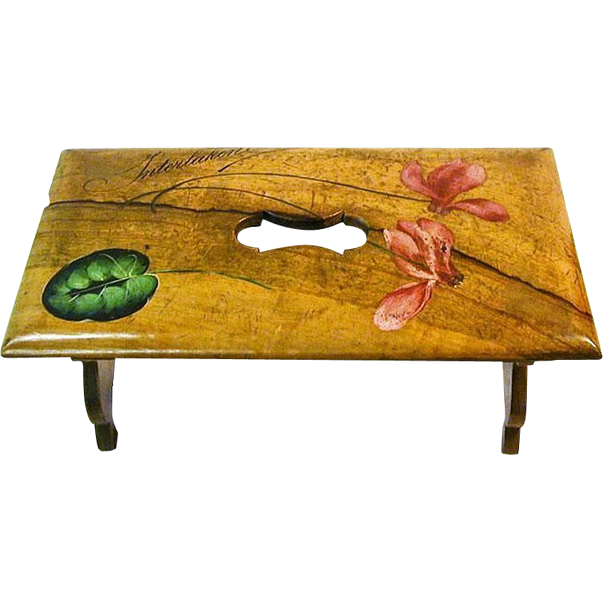 30% Off! Painted Olive Wood Collapsible Bench / Shelf, Interlaken, Switzerland, 1900's