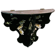 SALE 25% Off! Japanned Papier Mache Floral Decorated Folding Single Shelf, Victorian Era